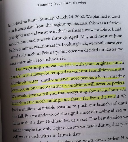 When God gives you a date to launch your church, by all means stick to it. That's part of faith.